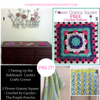 Featured Favorites: Free Patterns and Instructions for a Crochet Flower Granny Square, a Crosshatch Stitch Baby Blanket and Pretty Sideboard Projects