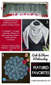 Featured: Cheerful Flower Valance. Linda's Crafty Corner. Oombawka Design Crochet.