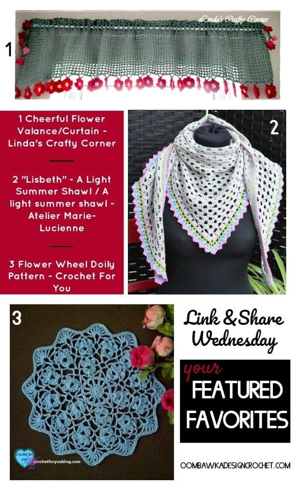 Featured: Cheerful Flower Valance. Linda's Crafty Corner. Oombawka Design Crochet.
