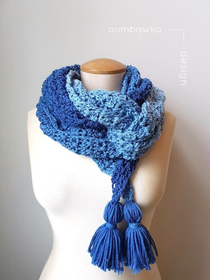 Ocean Breeze Scarf - Oombawka Design Crochet - Scarf of the Month Club May 2017