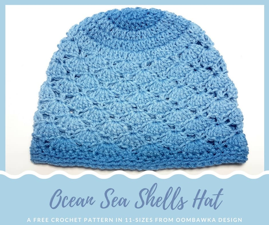 Ocean Sea Shells Hat a Free Crochet Pattern in 11 Sizes from Oombawka Design