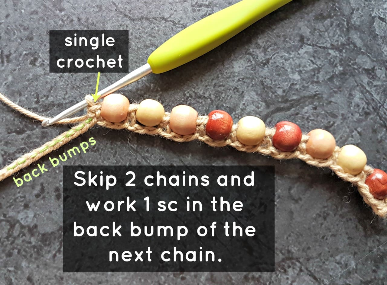 Single Crochet. Boho Beaded Cuff Bracelet Tutorial. Oombawka Design Crochet.