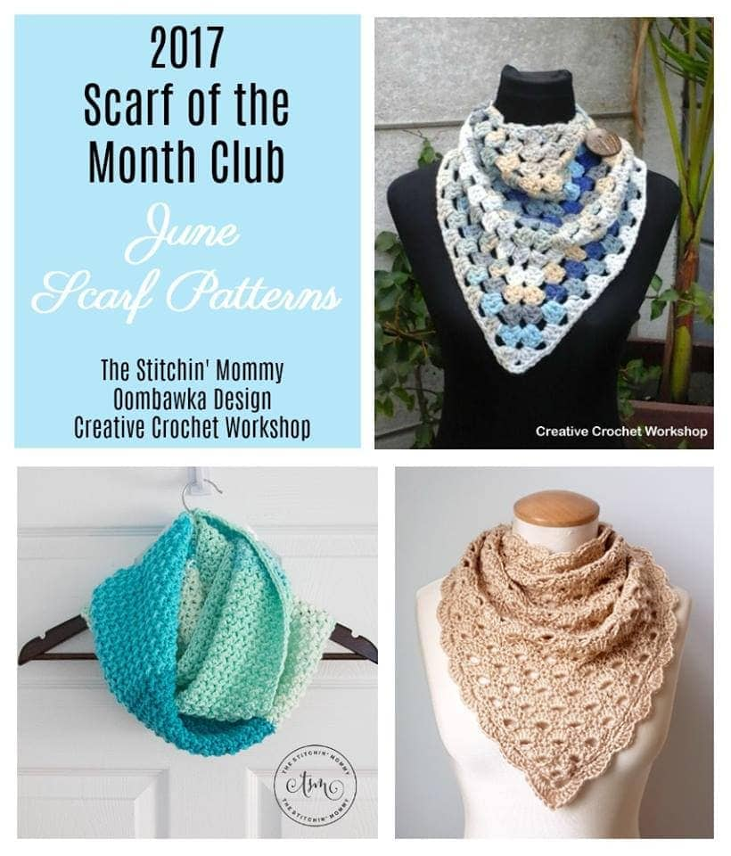 #SCARFOFTHEMONTHCLUB2017 June Patterns oombawkadesigncrochet