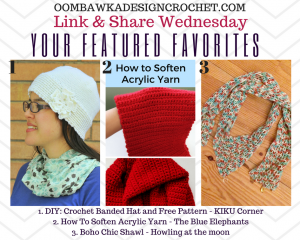 Features: Make a Pretty Banded Hat, a Boho Chic Shawl and Learn How To Soften Acrylic Yarn