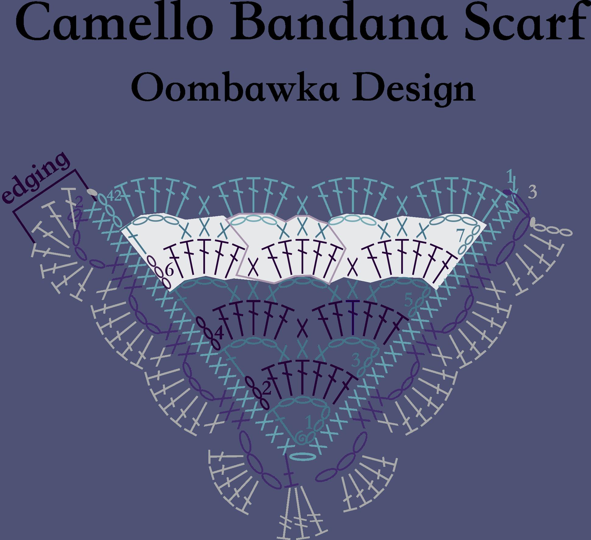 Crochet by Rhondda - Oombawka Design Crochet - Camello Bandana Scarf_diagram - ODC