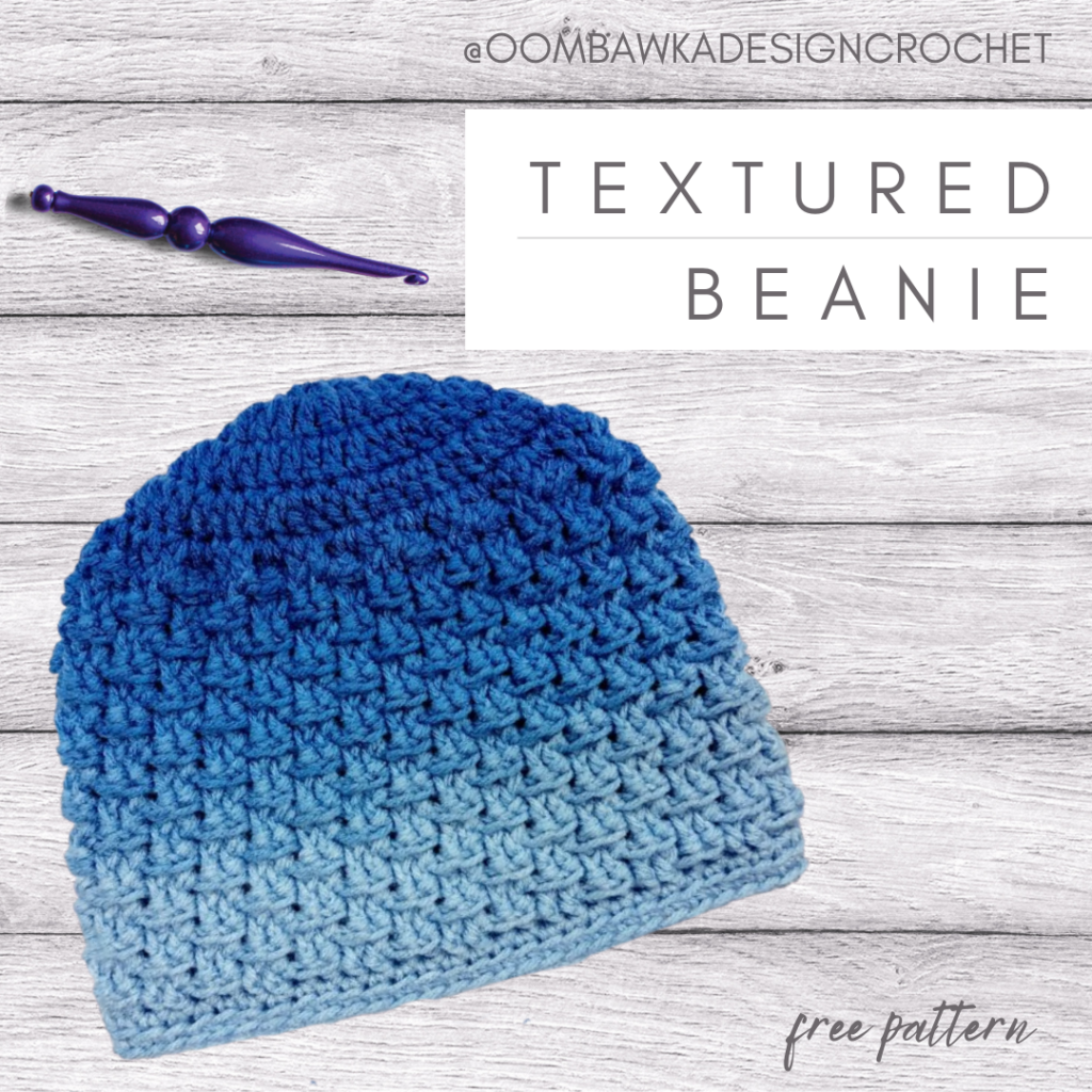 Textured Beanie Pattern ODCrochet 10 sizes