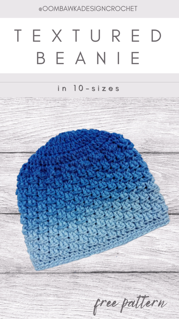 Textured Beanie Pattern in 10 sizes ODC2020