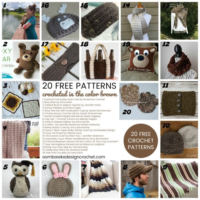 This week on Free Pattern Friday I have gathered 20 Free Patterns Crocheted in the color Brown. Ever since I read the book Brown Bear, Brown Bear, What Do You See? to my daughter, whenever I think of the color Brown - I think of the book.  This week we have a wide range of projects you can try including pillows, bags, headbands, ear warmers, shawls, cowls, scarves, toys, blankets and dishcloths.