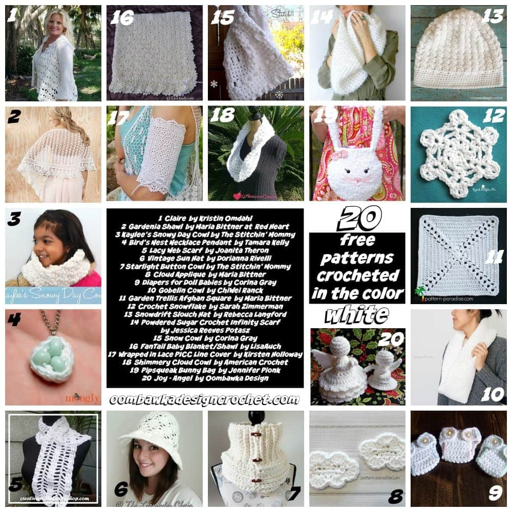 This week on Free Pattern Friday I have gathered 20 Free Patterns Crocheted in white. Projects have been included in many categories, including shawls, wraps, vests, hats, scarves cowls, baby blankets, doll diapers, accessories, embellishments and even a couple angels.