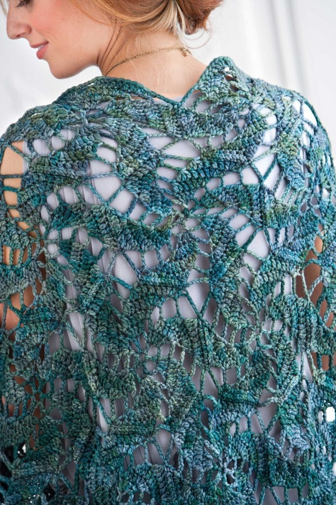 Blue Lagoon Swirling Hexagon Shawl - Classic Crochet Shawls