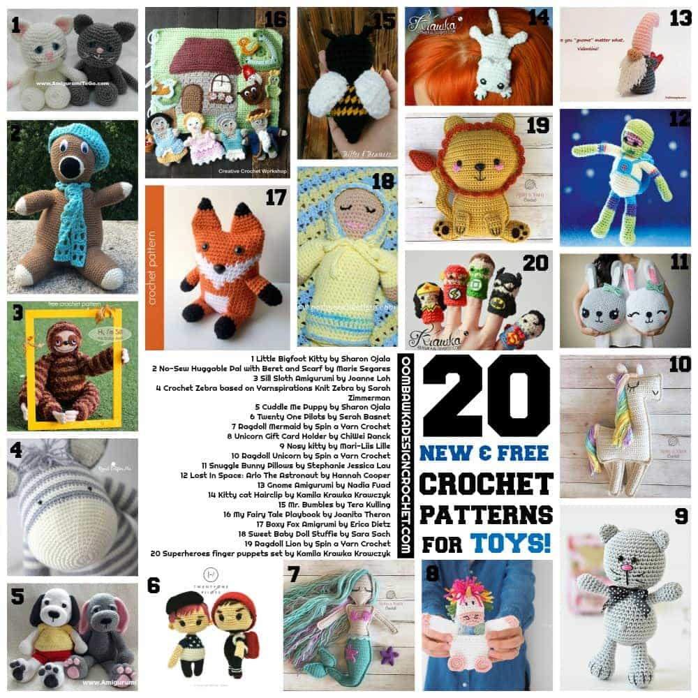 20 New Free Crochet Patterns for Toys! • Oombawka Design Crochet