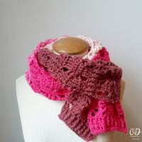 AUGUST SCARF of the Month Club - Oombawka Design Crochet - Posh Pink Scarf