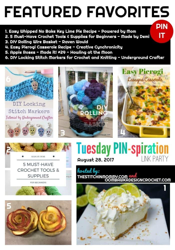 This week's Features include some delicious looking eats! Including recipes and instructions for no bake Key Lime Pie (I have pinned this one for my family), Apple Roses and an Easy Pierogi Lasagna Casserole. For our crafters and crocheters we also have three great DIY projects for you to try!