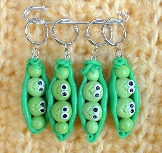 Sweet Peas knitting or crochet stitch markers - set of 4 - Polymer Clay