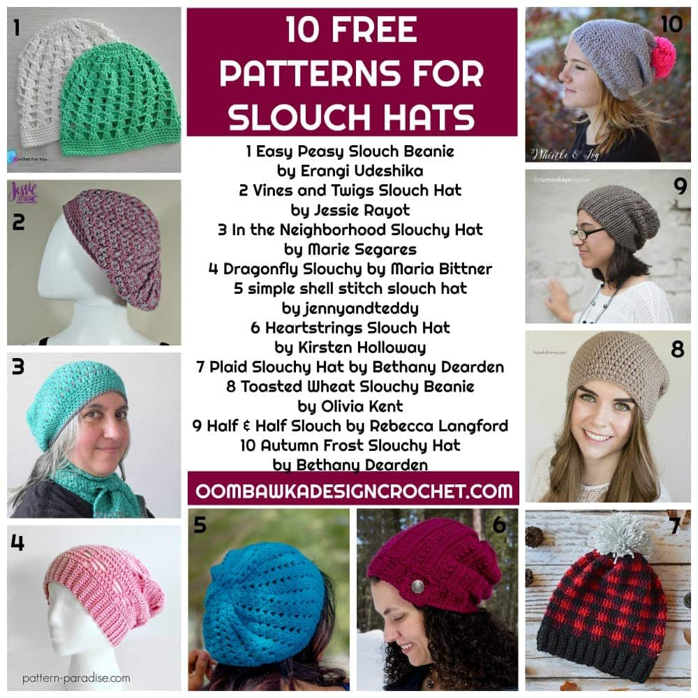 10 FREE PATTERNS FOR SLOUCH HATS ROUNDUP AT OOMBAWKADESIGNCROCHET
