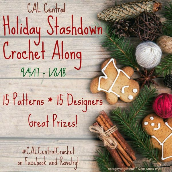 Holiday Stashdown CAL 2017 #CALCentralCrochet with a 10% Off Yarn Coupon JUST FOR YOU! Join us to make 15 great gifts, or decorations for the holiday season. You will also be eligible to enter for a chance to win a prizes from 22 sponsors (like Ottlite,  Clover USA, Darn Good Yarn and more!) for each project you complete. Learn more right here: