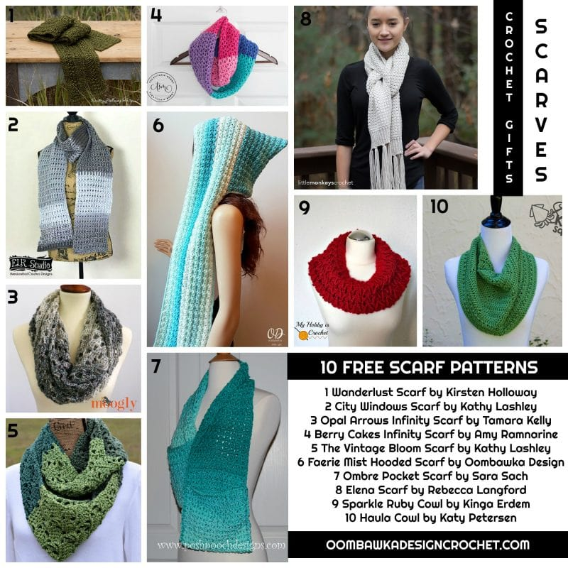 Crochet Gifts - Scarves - 10 Free Patterns