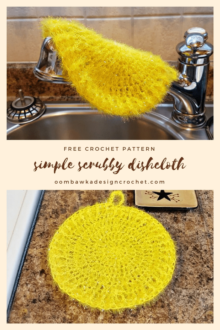 Simple Scrubby Dishcloth Free Pattern. Here is a super easy pattern you can use to make some bright and practical dishcloths using Scrubby Sparkle Yarn from Red Heart!