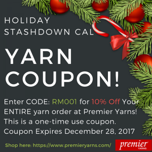 holiday stashdown cal yarn coupon RM001