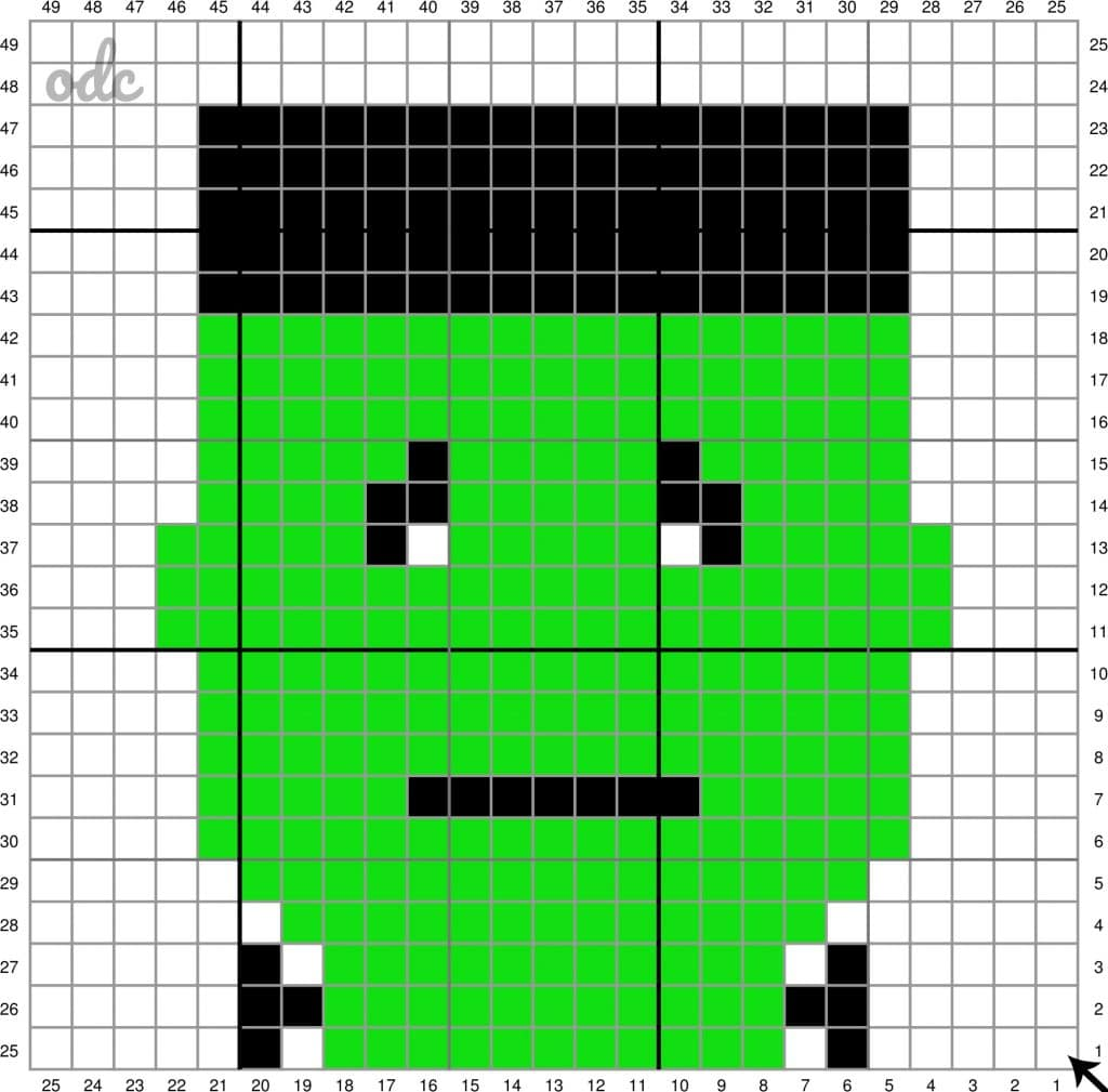 Halloween Monster Grid Free C2C Oombawka Design