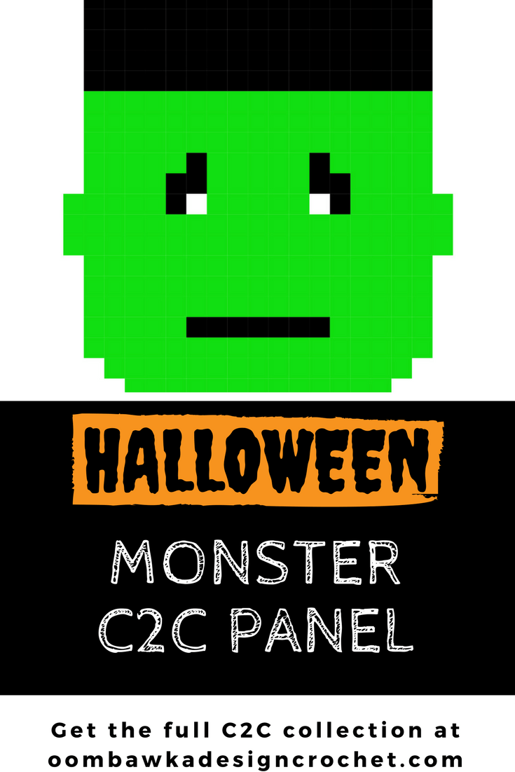 Halloween Monster Panel in C2C Crochet Free Pattern. Includes written instructions and the C2C Chart.