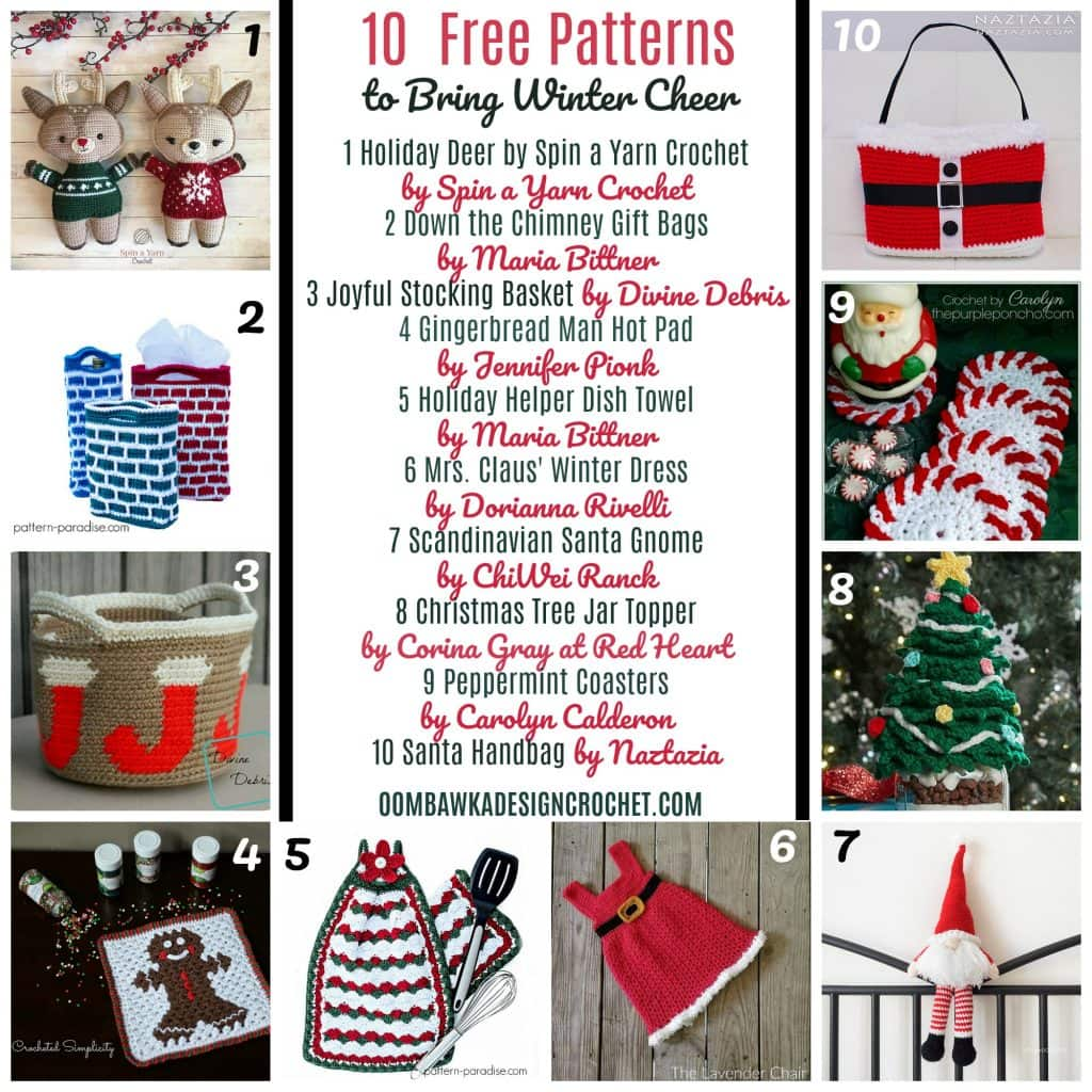 10 Free Patterns To Bring Winter Cheer - Free Crochet Pattern Friday ODC2