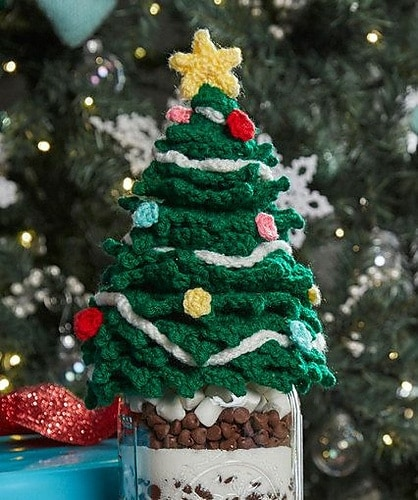 Featured on Free Crochet Pattern Friday: Christmas Tree Jar Topper - Corina G - Red Heart Yarn