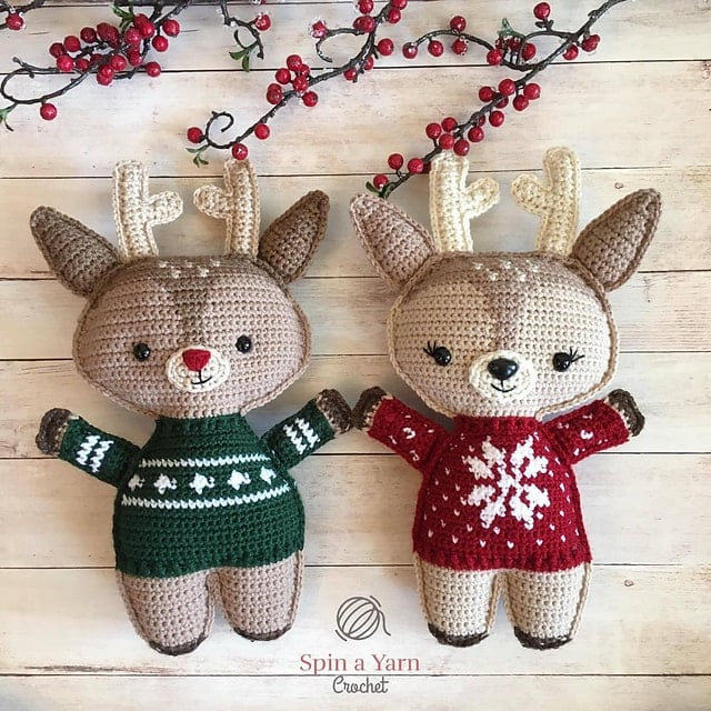 Featured on Free Crochet Pattern Friday: Holiday Deer by Spin a Yarn Crochet