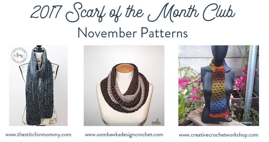 Scarfofthemonthclub2017 November 3 Free Crochet Patterns