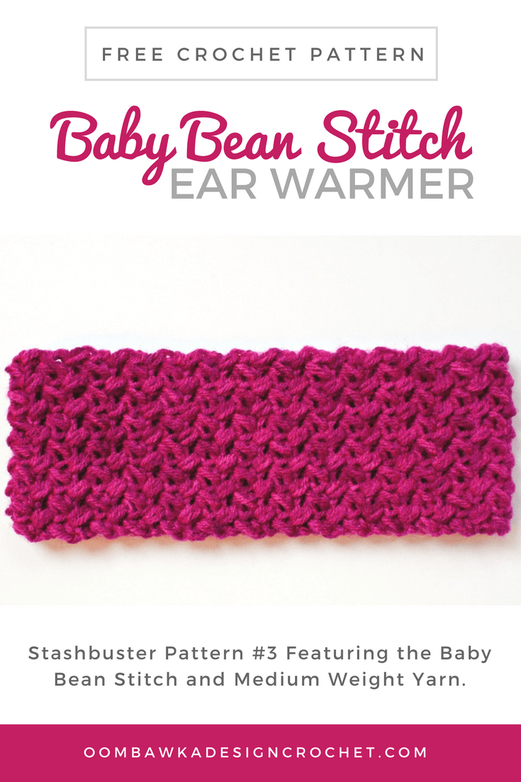 The Free Baby Bean Stitch Ear Warmer Pattern is available in child and adult sizes. You will need medium weight yarn to make this quick project.