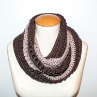 Coffee with Cream Infinity Scarf Pattern. Oombawka Design Crochet.