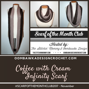 Coffee With Cream Infinity Scarf Pattern.