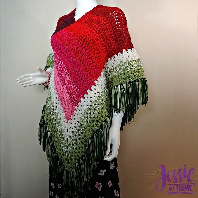 8 Holiday Poncho by Jessie Rayot - Featured on Free Pattern Friday at ODC