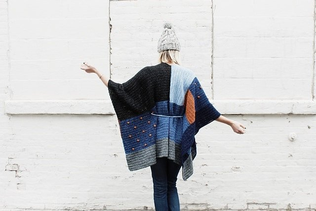 7 Shades of Indigo Poncho by Alexandra Tavel - Featured on Free Pattern Friday at ODC
