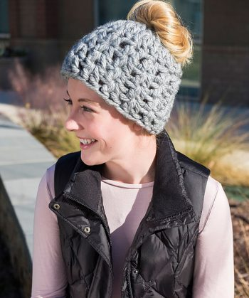 On Trend Messy Bun Hat - Katy Peterson at Red Heart - Featured at FCPF - ODC