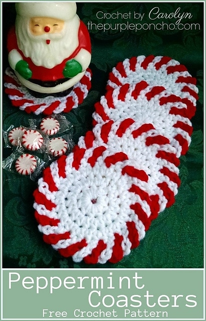Featured on Free Crochet Pattern Friday: Peppermint Coasters - The Purple Poncho