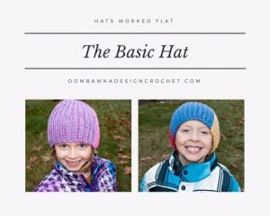 The Basic Hat Pattern. Crochet Hat Worked Flat. Free Crochet Pattern