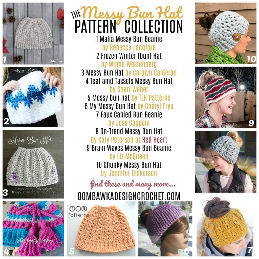 The Messy Bun Hat Pattern Collection at Oombawka Design Crochet - Free Crochet Pattern Friday