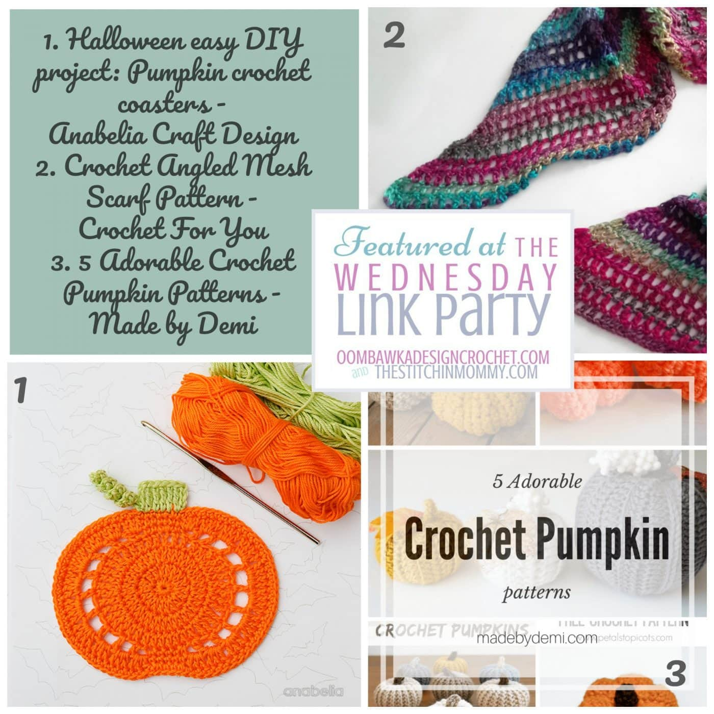Check out Anabelia Craft Design's elegant crochet pumpkin coasters, Crochet For You's pretty and lightweight Mesh Scarf or pick your favorite from the five pumpkin projects showcased in a collection curated by Made by Demi.