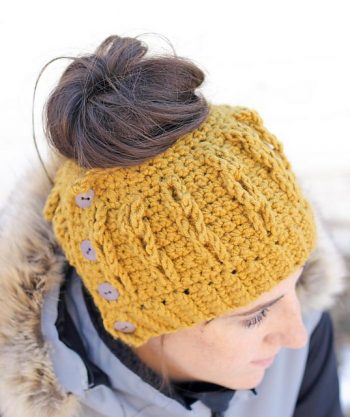 Faux Cabled Bun Beanie - Jess Coppom - Featured on FCPF - ODC