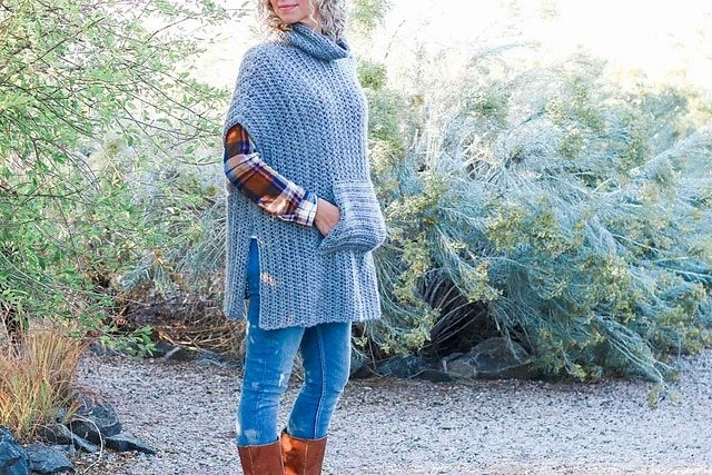 1 Greyscale Poncho by Jess Coppom - Featured on Free Pattern Friday at ODC