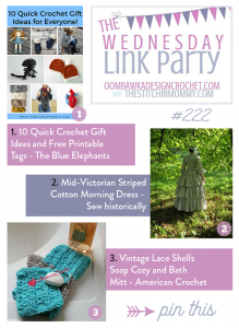 The Wednesday Link Party with Amy and Rhondda: This Week We Feature The Blue Elephants, Sew Historically and American Crochet!