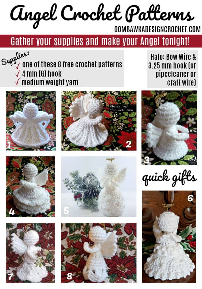 Free Crochet Angel Patterns Designed by Oombawka Design Crochet Medium Weight Yarn and a 4 mm G hook Each Angel can be crocheted in an evening (they are quick and easy!). I used Red Heart Super Saver in White and a 4 mm (G) crochet hook.