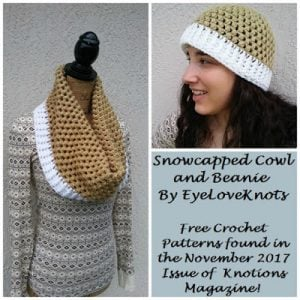Snowcapped Cowl and Beanie - EyeLoveKnots - Featured on The Wednesday Link Party with Oombawka Design and The Stitchin' Mommy
