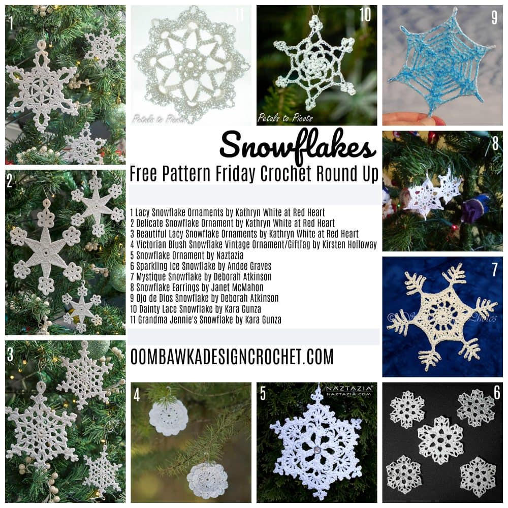 Free Pattern Friday Crochet Round Up for Snowflakes by oombawkadesigncrochet.com