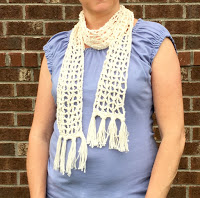 Summer Boho Scarf crochet pattern in cream cotton