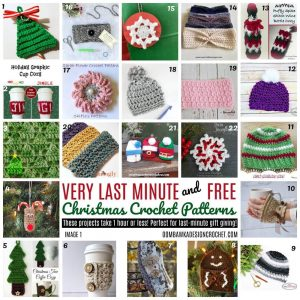 Very Last Minute and Free Christmas Crochet Patterns - RoundUp by Oombawa Design Crochet - Free Patterns That Take Less than 1 Hour To Make!