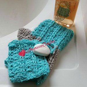 Featured on The Wednesday Link Party: Vintage Lace Shells Soap Cozy and Bath Mitt - American Crochet