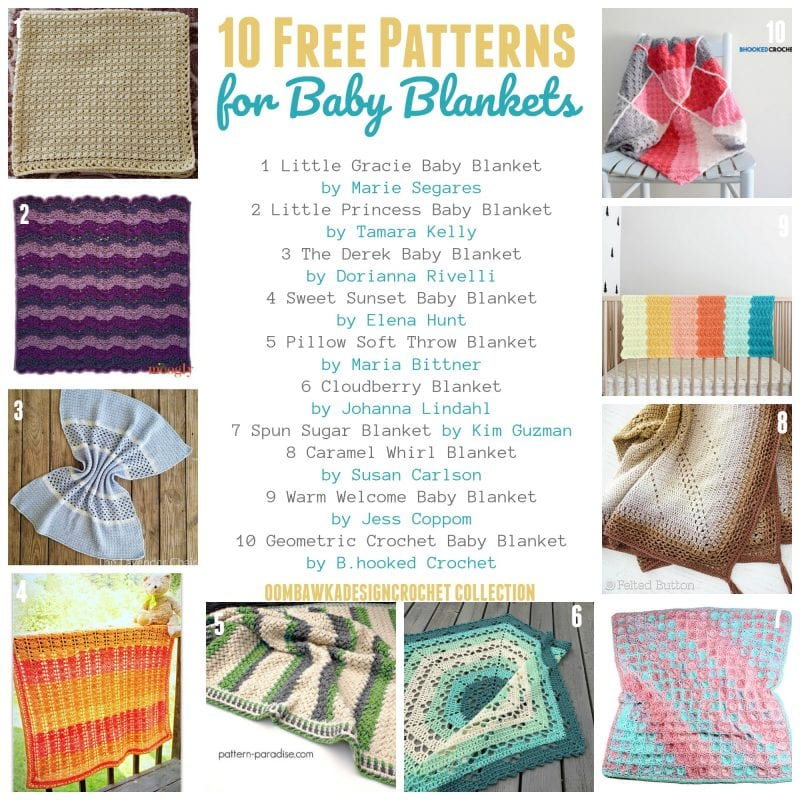 10 Free Patterns for Baby Blankets an OombawkaDesignCrochet Collection