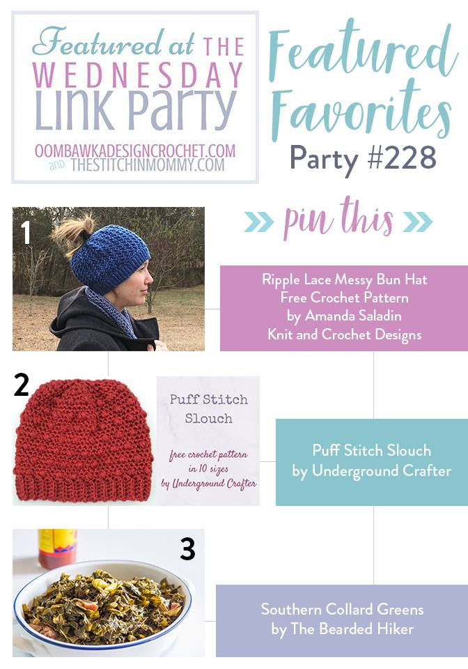 Wednesday Link Party Features Party 228 at Oombawka Design Featuring Amanda Saladin Knit and Crochet Designs, Underground Crafter and The Bearded Hiker!